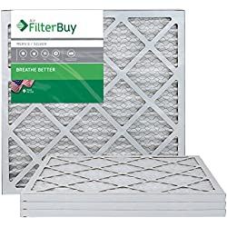 AFB Silver MERV 8 20x20x1 Pleated AC Furnace Air Filter. Pack of 4 Filters. 100% produced in the USA.