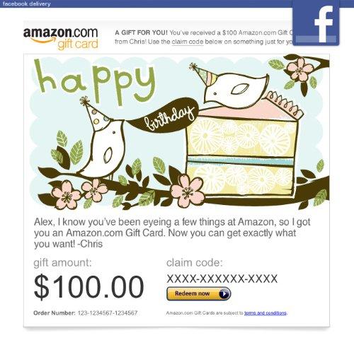Amazon Gift Card - Facebook - Happy Birthday Birds