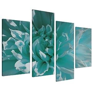 Tableau sur toile fleur blanche et bleu turquoise 4 parties wallfillers canvas 4103 - Tableau bleu turquoise ...
