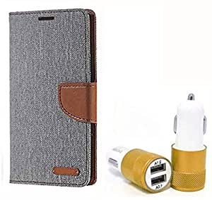Aart Fancy Wallet Dairy Jeans Flip Case Cover for MotorolaMotoE (Grey) + Dual USB Port Car Charger with Smartest & Fastest Technology by Aart Store.