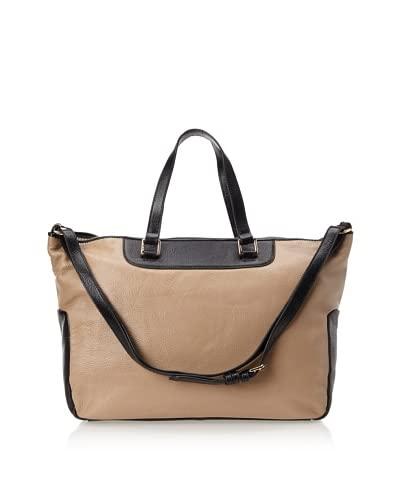 Zenith Women's Convertible Satchel, Beige/Black