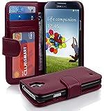 Cadorabo ! PREMIUM - Book Style Hülle im Portemonnaie Design für Samsung Galaxy S4 (GT-i9500 / GT-i9505 LTE) in BORDEAUX-LILA