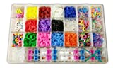 Deluxe Educational Bundle Kit & Loom Includes 3600 Bandz +150 S-clips, 12 Beautiful Colors, Mixed Glow in Dark, Mixed Neon, 6 Charms, 50 Alpha Beads, 100 Beads and Great Storage Case