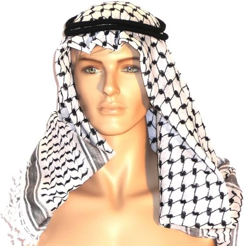 Authentic and NEW Head Shemagh Kafiya Arab Scarf with Agal Black White the Same Israel, Palestine and British SAS Military USE Unique and Retro Look, Soft and Lightweight Great and Cool Unisex Accessory Fits with Any Shirt