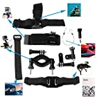 Dazzne 6 in 1 Gopro Accessory Motorcycle Motor Bicycle Kit Helmet strap + Velcro Belt + Elastic head strap + Bike handlebar + Elastic wrist strap + Safety steel wire