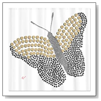 Silver and Sand Butterfly Retro Shower Curtain by CafePress