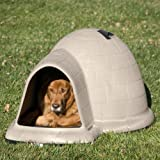 Petmate Indigo Dog House with Microban, Medium, Taupe Top, Black Bottom
