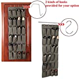 Songmics 24 Pockets Over-The-Door Shoe Organizer Multi-purpose Hanging Shoe Storage Unit Light Brown URSO64K