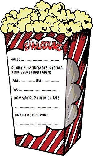 Einladungskarten * POPCORN-KINO * für Kindergeburtstag und Party ...