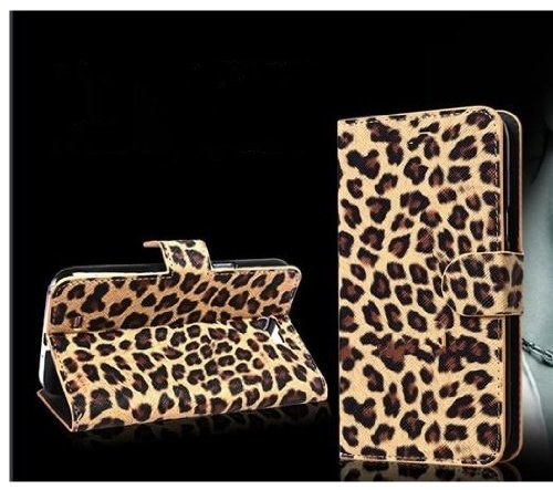 Leopard Skin Wallet Flip Leather Pouch Stand