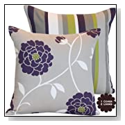 Purple Decorative Throw Pillow with Flowers