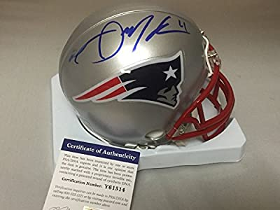 Autographed/Signed Julian Edelman New England Patriots Mini Helmet PSA/DNA COA