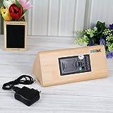 EiioX Fashion Triangle Green LED Wooden Imitation Alarm Clock Digital Wood Alarm Clock Desktop- Time Temperature Date - Sound Control - Latest Generation