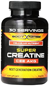 Body Fortress Super Creatine CEE AKG Nutritional Supplement, 30 Servings, 90 Count