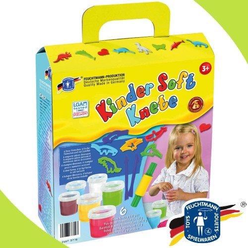 Feuchtmann 628-5341 Kinder Soft Knete DINOSAURIER Förmchen viel Zubehör im Geschenkkarton