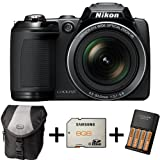 Nikon Coolpix L310 - Black + Case + 8GB Memory Card + 4xAA Battery and Charger(14.1MP, 21x Optical Zoom) 3 inch LCD