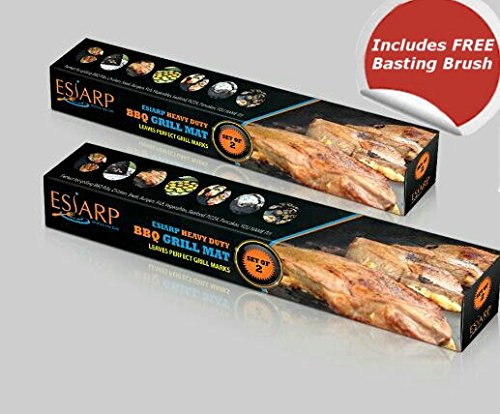 ESIARP Kitchen and Grill BBQ Mat with Free Basting Brush, Non Stick Re-Usable Barbecue Mat Heavy Duty PFOA Free, Set of 2 (Filter By Water Pit compare prices)
