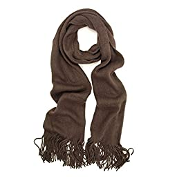 Classic Soft Unisex Solid Color Warm Winter Fringe Scarf, Brown