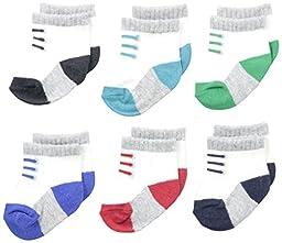 Carter\'s Baby-Boys Newborn 6 Pack Sneaker Socks, Multi, 0-3 Months