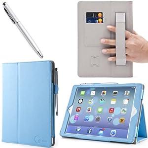 i-BLASON Apple iPad Mini 7.9 Inch Auto Wake / Sleep Smart Cover Leather Case (Elastic Hand Strap, Multi-Angle, Card Holder) With Bonus Stylus (Multi-Color to Choose From) 3 Year Warranty