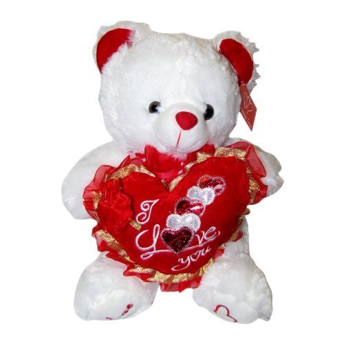 "Musical ""I Love You"" White Teddy Bear (9"") Plays ""The Love Song"""
