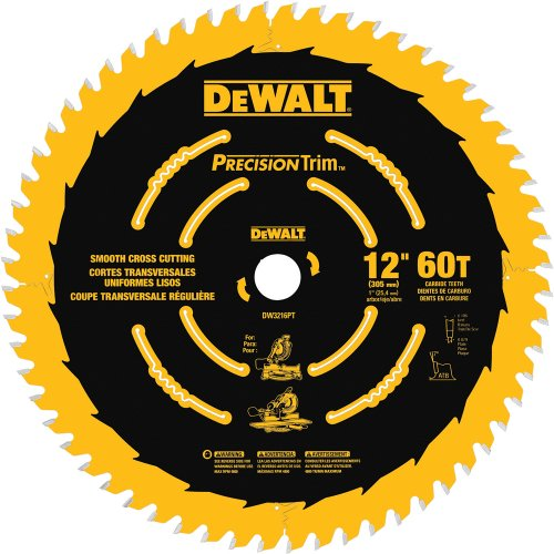 DEWALT DW3216PT Precision Trim 12-Inch 60 Tooth ATB Crosscutting Saw Blade with 1-Inch Arbor and Tough Coat Finish (12 Inch Trim Blade compare prices)