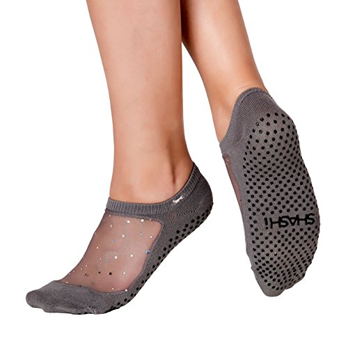 Shashi Charcoal Glitter Mesh Non Slip Ergonomic Socks Pilates Barre Ballet Yoga Dance ...