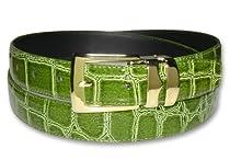 Croc CELERY LIME GREEN Bonded Leather Belt Gold-Tone Buckle sz 40