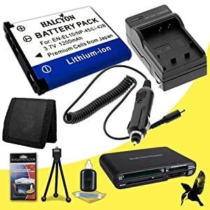 Halcyon 1200 mAH Lithium Ion Replacement D-LI108 Battery and Charger Kit + Memory Card Wallet + Multi Card USB Reader + Deluxe Starter Kit for Pentax Optio RS1500 Digital Camera and Pentax D-LI108