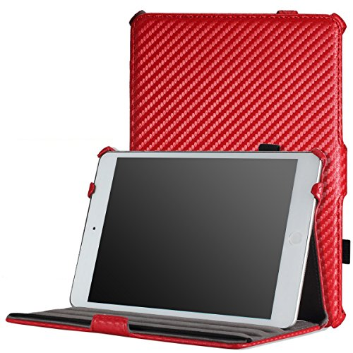 MoKo iPad Mini Case, iPad Mini 2 / 3 Case, Slim-Fit Cover Case for Apple iPad Mini 1 (2012) / iPad Mini 2 (2013) / iPad Mini 3 (2014), Carbon Fiber RED (Will not fit iPad Mini 4) (Ipad Mini 3 Carbon Fiber Case compare prices)