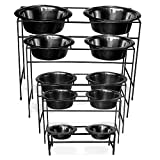 Platinum Pets Modern Double Diner Stand with Two 8 Cup Rimmed Bowls, Red