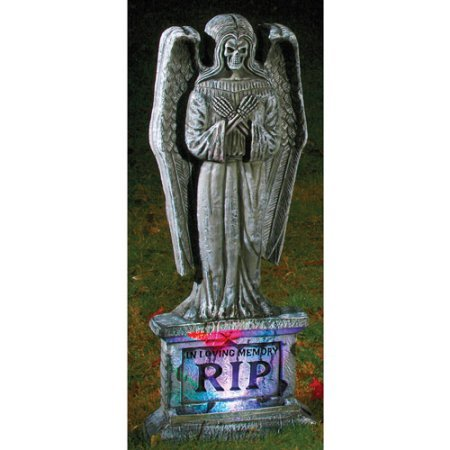 Halloween Decoration Lite Up Gothic Angel Tombstone 17.00 x 15.00 x 6.00 Inches (Angel Tombstone)