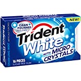 Trident White Sugar Free Gum with Micro Crystals, Sparkling Mint, 16 Piece Packet (Pack of 9)
