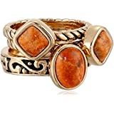 "Barse ""Glisten"" Bronze Orange Sponge Coral Stack Ring"