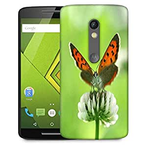 Snoogg Butterfly In White Flower Designer Protective Phone Back Case Cover For Moto G 3rd Generation