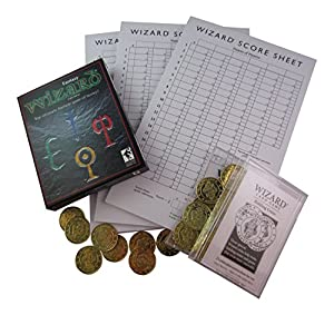Wizard Playing Cards Fantasy Edition Bundle - 3 Items: Card Game, Bidding Coins, & Score Sheets