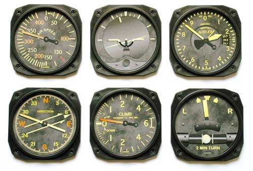 Vintage Aircraft Instrument Coaster Set - Set of 6