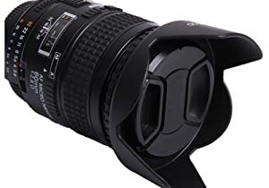 58mm Tulip Flower Lens Hood and 58mm Lens Cap Kit for Canon Rebel T5, T6, T6i, T7i, EOS 80D, EOS 77D Cameras with Canon EF-S 18-55mm f/3.5-5.6 is Lenses. (Color: 58mm)