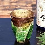 九谷焼 陶器の荒削り焼酎グラス 銀彩(グリーン)