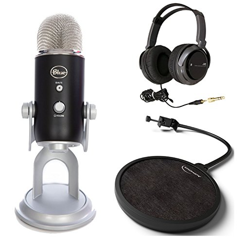 Blue Microphones Yeti Usb Microphone - Premium Black Edition Bundle With Full-Size Headphones And Pop Fliter