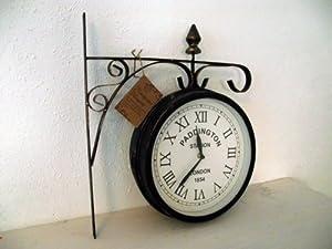 bahnhofsuhr d 25cm vintage uhr f r k che flur wohnzimmer garten landhausstil landhaus. Black Bedroom Furniture Sets. Home Design Ideas