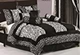 7 Piecse Black and White Micro Fur Zebra with Giraffe Design Comforter Bedding Set Bed in Bag Machine Washable, Queen Size thumbnail