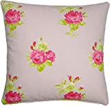 """FILLED PINK ROSE FLORAL 100% COTTON 17"""" 43CM CUSHION PILLOW CASE SHAM MADE IN THE UK *CT*"""