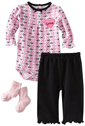 Bon Bebe Baby-girls Newborn 3 Piece Pant Set With Heart Shaped Satin Applique, Pink/White/Black, 0-3 Months