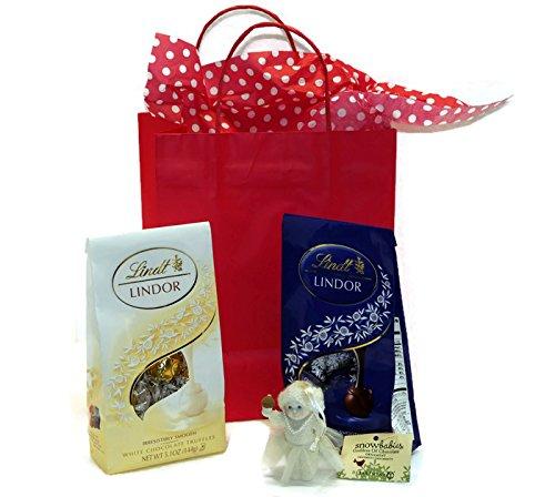 Chocolate Lovers Gift Set - Snowbabies Goddess Of Chocolate, Lindt Lindor Dark Chocolate And White Chocolate Truffles