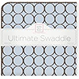 SwaddleDesigns Ultimate Receiving Blanket, Brown Mod Circles, Pastel Blue