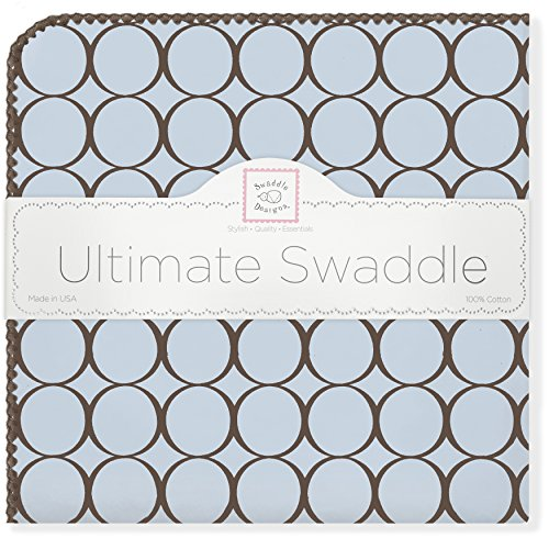 SwaddleDesigns Ultimate Receiving Blanket, Brown Mod Circles, Pastel Blue
