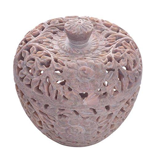 Store Indya, Naturale Soapstone floreale luce del te del supporto di candela votiva Nel tradizionale indiano Jali lavoro