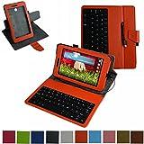 LG G Pad 7.0 micro usb Tastiera Custodia,Mama Mouth rotante Staccabile micro usb Tastiera (layout inglese) custodia in PU di cuoio pelle caso Case per LG G Pad 7.0 V400 V410 Tablet PC,Arancione