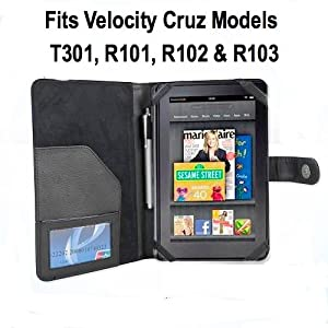 T301 Velocity Micro Cruz Tablet Leather Case - Black-For Cruz Tablet T301, NOT T103